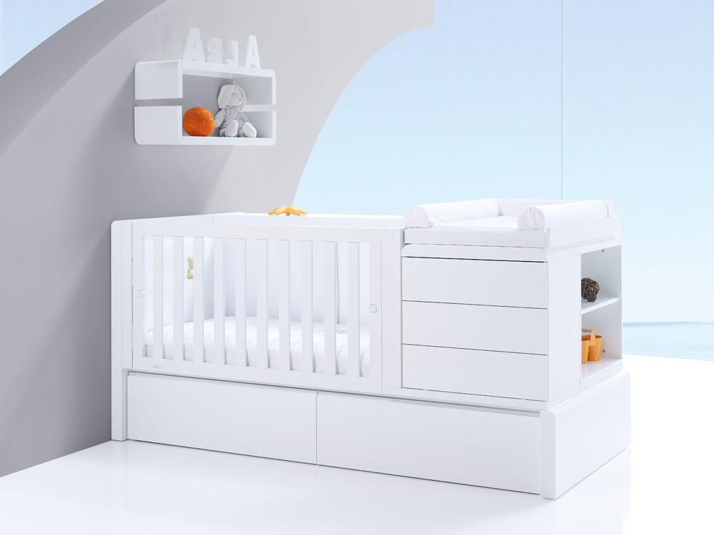 lettino trasformabile in letto, comodino e scrivania